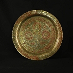Circa Late 1800's Antique Ornate Hand Painted Engraved Brass Plate