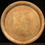 "Antique Victorian Art Nouveau Copper Tray ""Johnnie Walker Whiskey"""