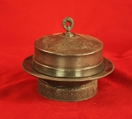 Antique 19th Century Pewter Butter Dish with Glass Insert