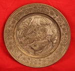 ANTIQUE HAND HAMMERED PEWTER OR COPPER PLATE HUNTER ON HORSEBACK