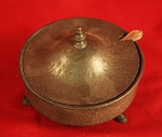 Antique Pewter Lidded Dish with Glass Sauce Bowl Inside Dish