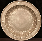 Antique 18th Century Repousee Belgian Pewter Platter with Maker's Mark - Crowned Rose Work of Perpete Ignace Bourguignon (1730-1794) Pewter Smith in Dinant, Belgium