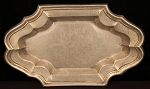 SOLD - Antique Pewter Tray with Wriggle Work Design Edge – Made in Portugal