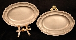 Circa 18th Century Pair of Oblong Pewter Chargers or Serving Plates with Scalloped Edge Matching Angel Hallmarks