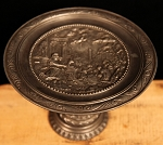 Circa 19th Century Rare Pewter Footed Tazza or Tray with Elaborate Embossed Roman Scene