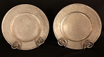 Antique Large Pair of French Pewter Chargers Marked Etain and Leseains De Paris in Circle