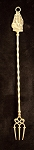 Antique Brass Toasting Fork with Ornate Ship Handle