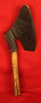 Antique Circa 1870's Decorated Goosewing Axe with Four Maker's Marks