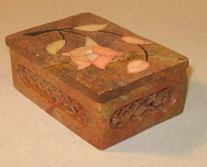 Antique Marble Box with Inlaid Pearl Flower
