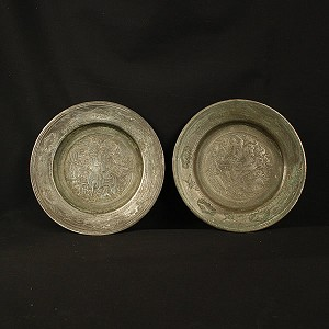 Circa 1700's Pair of Pewter over Copper Hunting Scene Plates