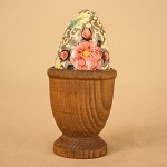 Primitive Hand Painted Egg with Carved Egg Cup