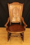 Antique Circa Early 1800's Walnut Rocking Chair with Star Design