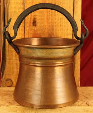 Antique Decorative Copper Pot with Heavy Wrought Iron Handles