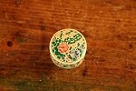 Small Antique Round Hand Painted Jewelry Box