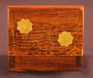 Antique Wooden Match Box with Inlaid Brass Patterns