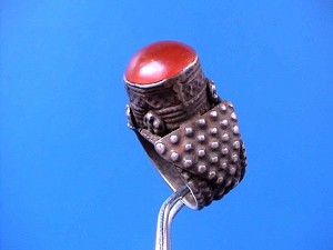 Large Antique Silver Ring with Red Gemstone