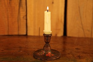 Antique Hand Painted Wooden Candle Holder