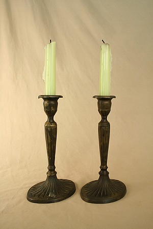 Circa 1890's Pair of Cast Brass Candlestick Holders