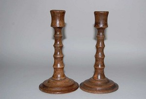 A Pair of Vintage Oak Turned Candlesticks