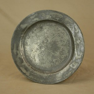 "Antique 1700's Pewter Plate with Makers Mark ""I.S.M. LONDON"""