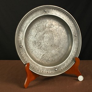 Circa 1700's early 1800's 12 Inch Engraved Pewter Charger with Makers Mark