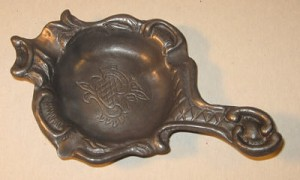 Antique Ornate Pewter Ash Tray