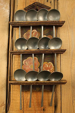 Circa 1750's Heavy Pewter Spoons with Original Rack