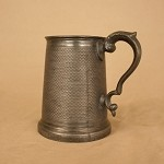 Antique Very Ornate Pewter Tankard with Makers Mark
