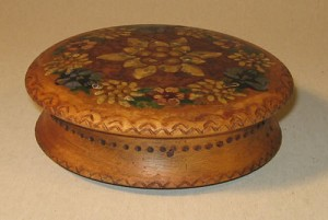 Antique Round Wooden Salt Box with Painted Flowers