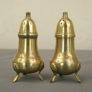1800's Brass Salt and Pepper Shakers