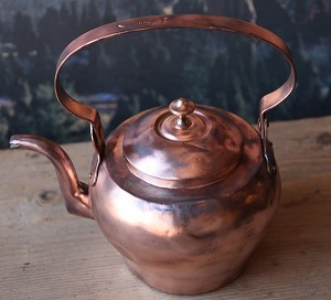 Antique Circa 1840's French Gooseneck Spout Copper Teapot
