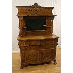 Antique American Ornately Carved Oak Buffet