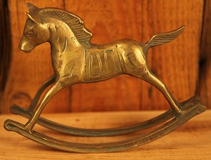 Antique Brass Rocking Horse with Nice Aged Patina