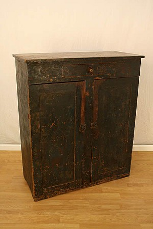 Circa 1800's Square Nailed Painted American Pine Cupboard