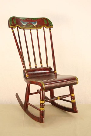 C.1700's - Early 1800's Antique Lacquered & Painted Rocking Chair