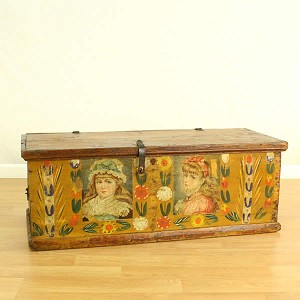 "C. Early 1800's ""Young Girls"" Painted Wood Storage Trunk or Chest"